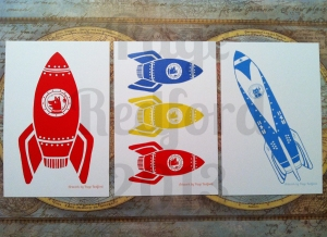 Retro Rocket Postcards